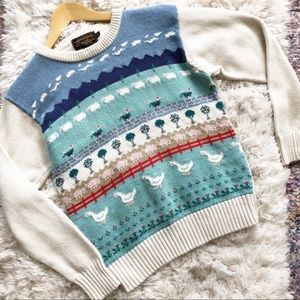 Eddie Bauer | Vintage Farm Animal Knit Sweater S